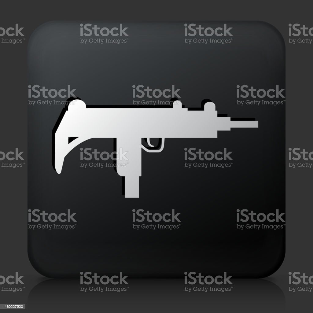 Black Square Button with Sub-Machine Gun Icon vector art illustration