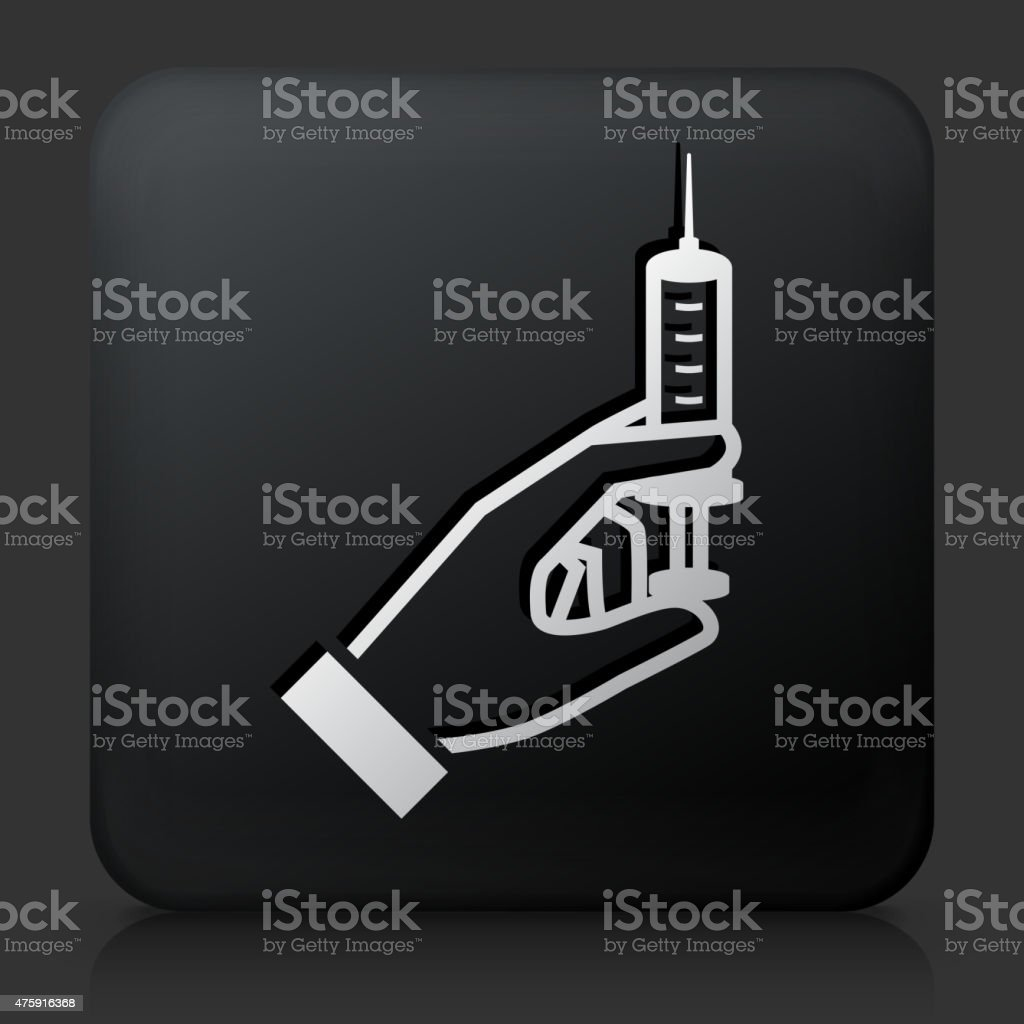 Black Square Button with Syringe Icon vector art illustration