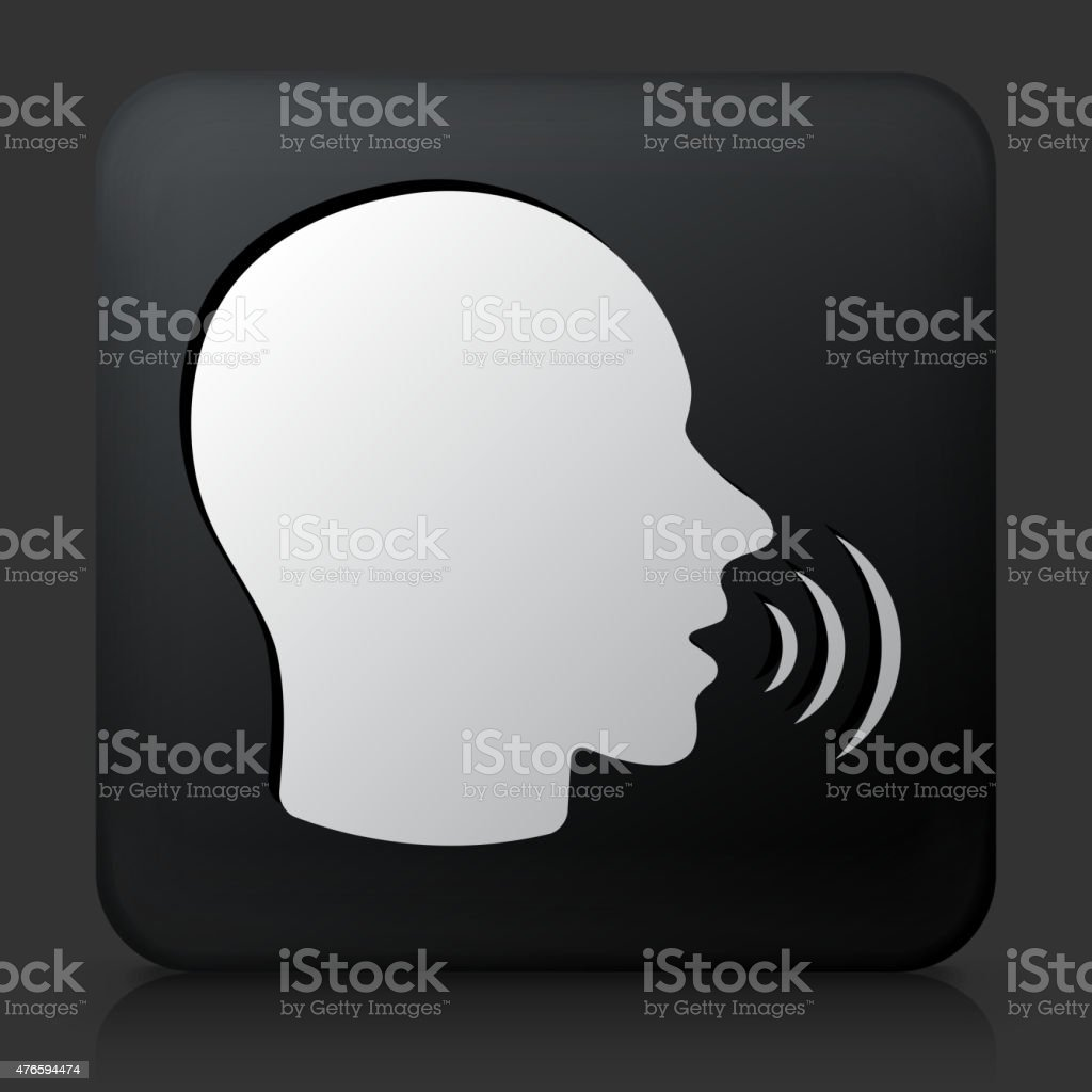 Black Square Button with Talking Face Icon vector art illustration