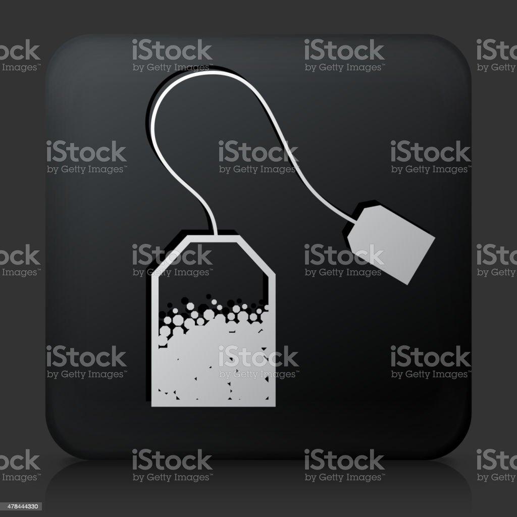 Black Square Button with Tea Icon vector art illustration