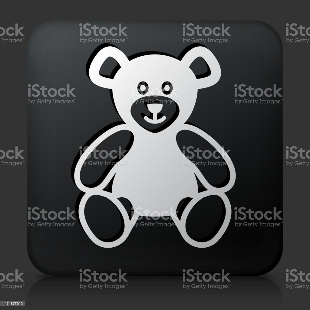 Black Square Button with Teddy Bear vector art illustration