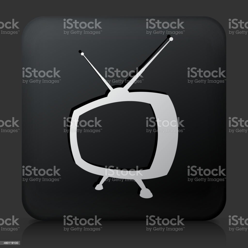 Black Square Button with Television Icon vector art illustration