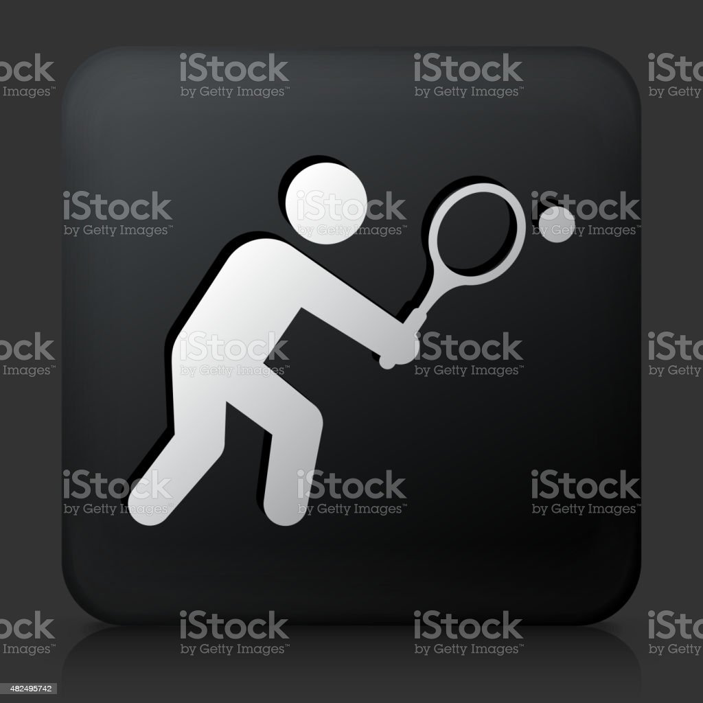 Black Square Button with Tennis Icon vector art illustration