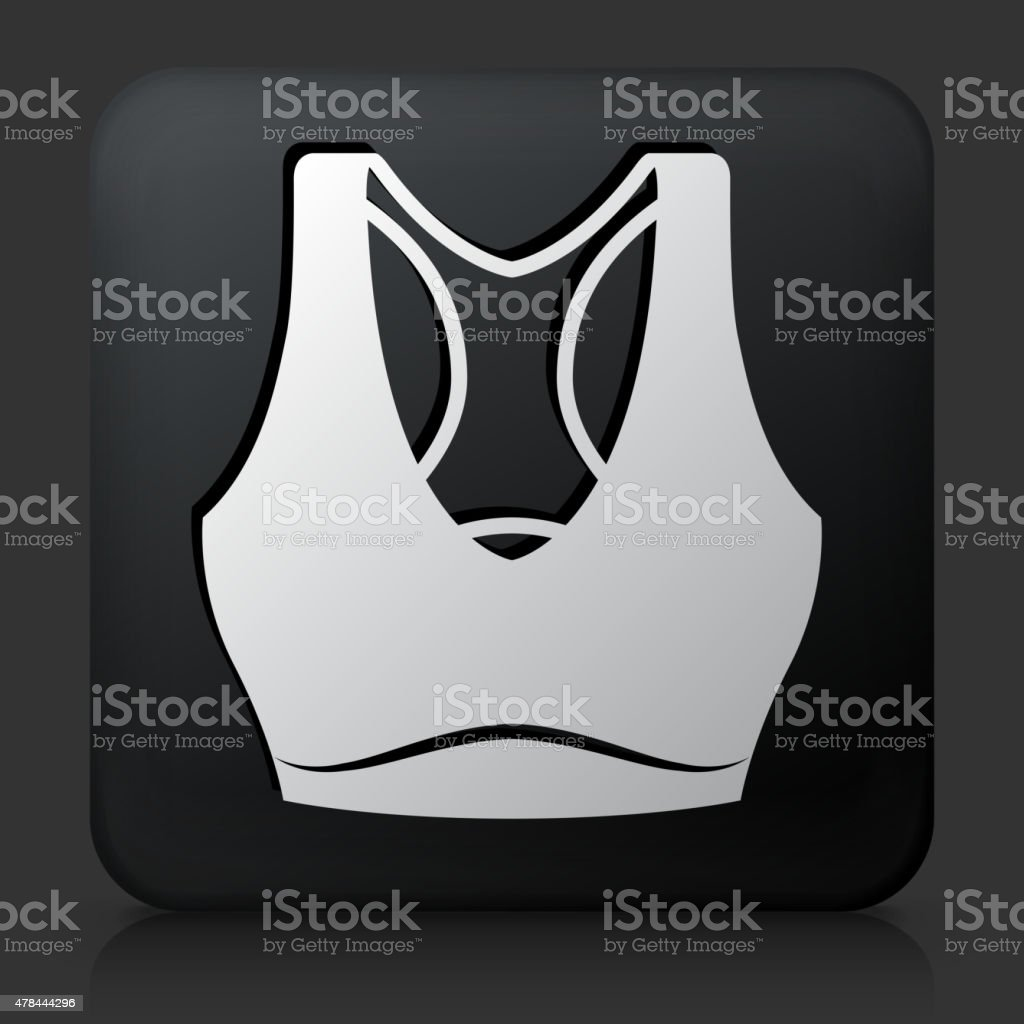 Black Square Button with Tennis Outfit Icon vector art illustration