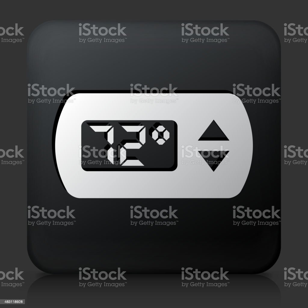 Black Square Button with Thermostat vector art illustration