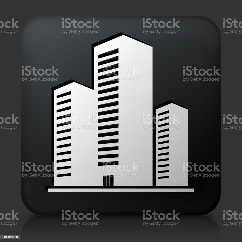 Black Square Button with Three Buildings vector art illustration