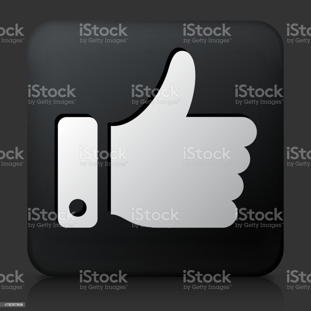 Black Square Button with Thumbs Up Icon vector art illustration