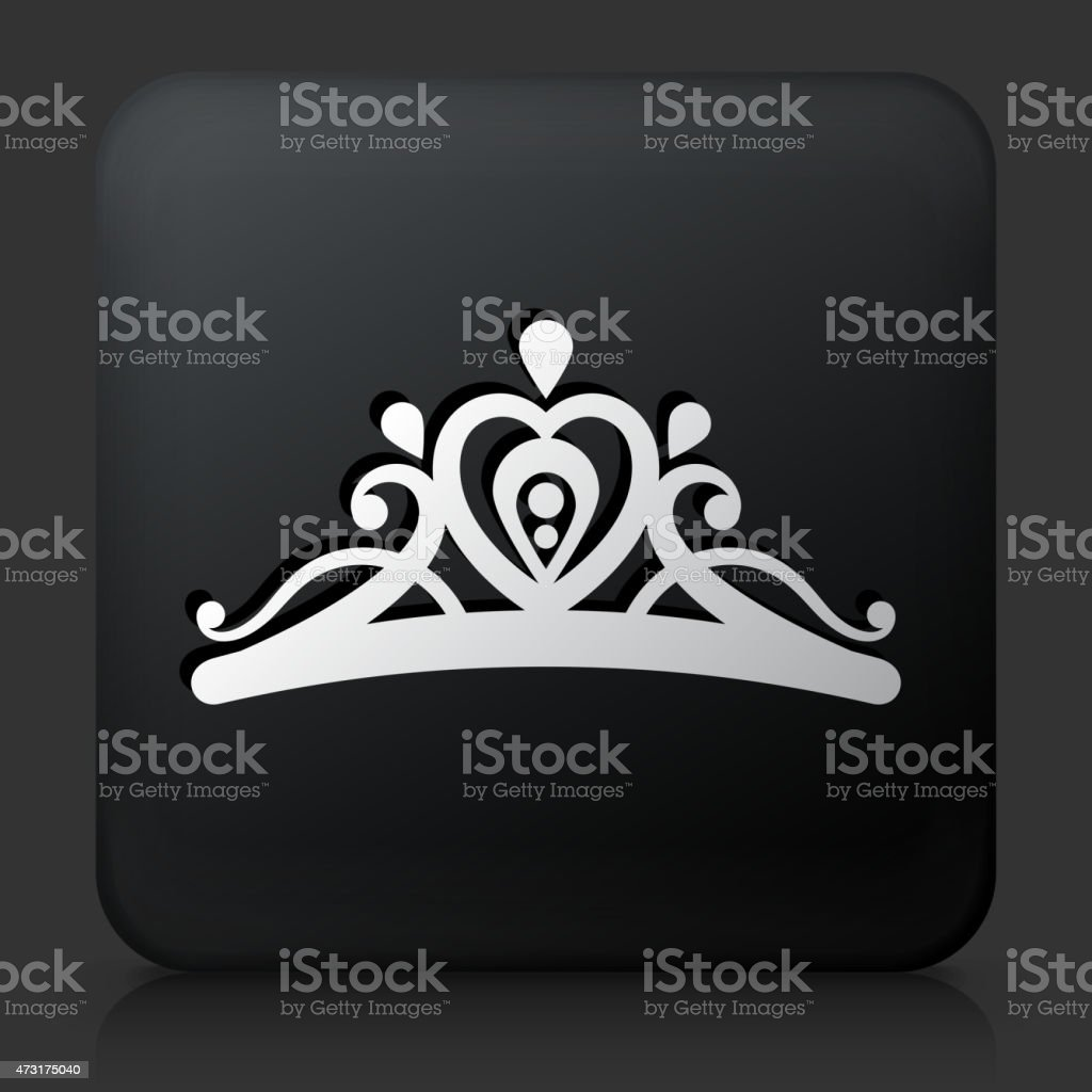 Black Square Button with Tiara Icon vector art illustration