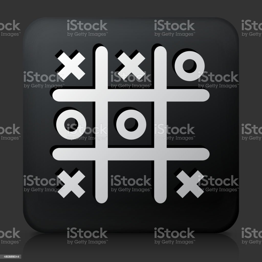 Black Square Button with Tic Tac Toe Icon vector art illustration