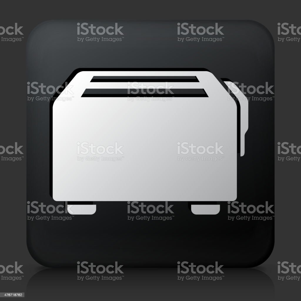 Black Square Button with Toaster Icon vector art illustration