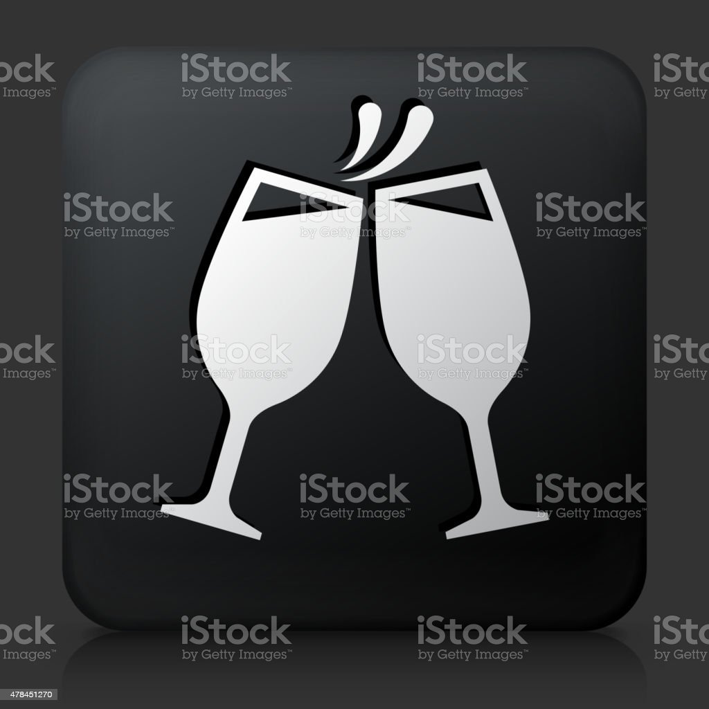Black Square Button with Toasting Glass vector art illustration