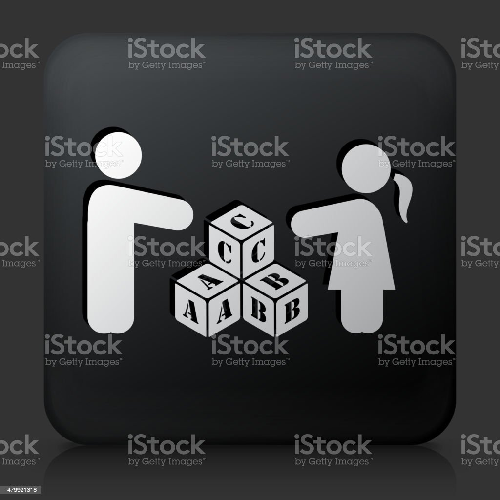 Black Square Button with Two Children Playing Letter Blocks vector art illustration