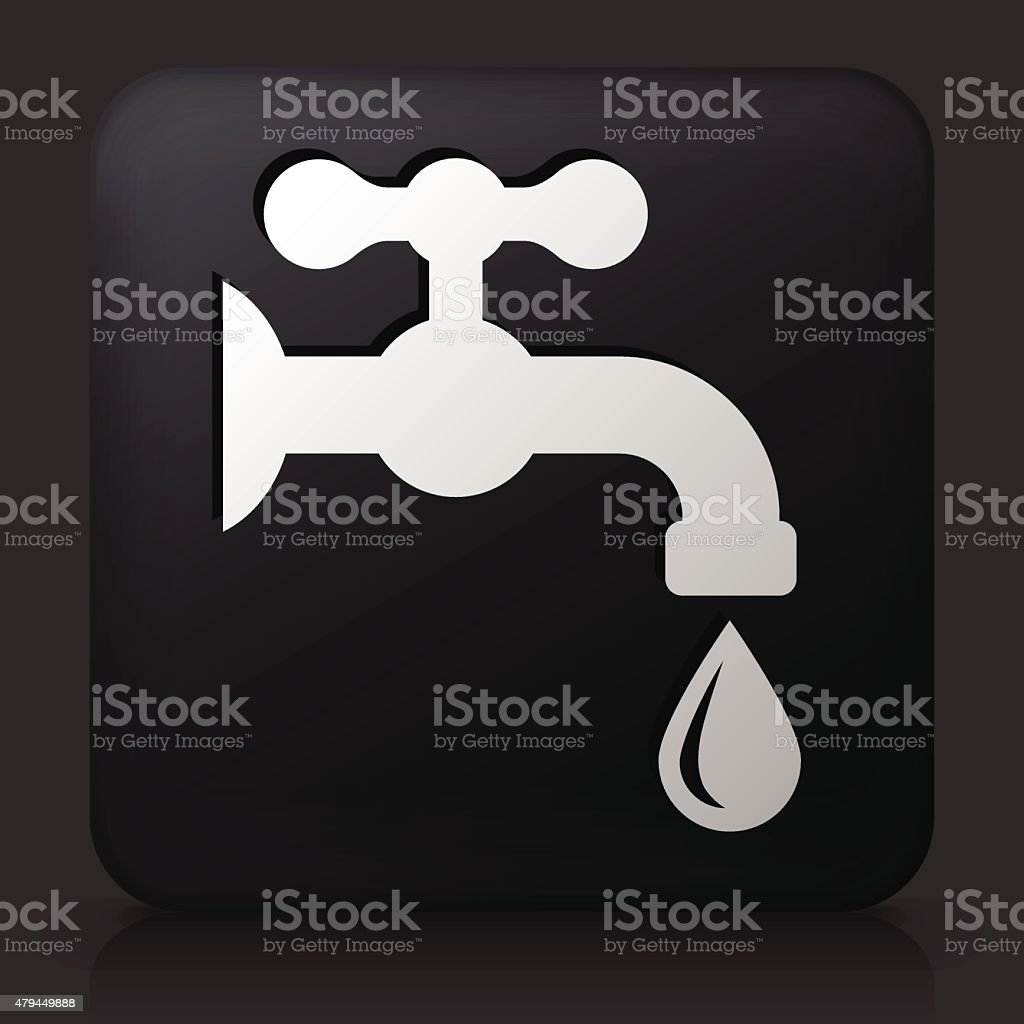 Black Square Button with Water Faucet  Icon vector art illustration