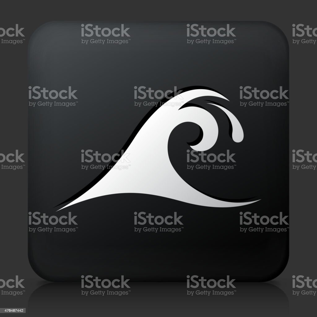 Black Square Button with Wave vector art illustration