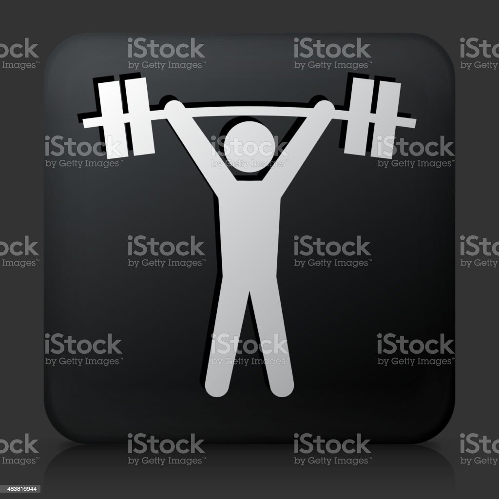 Black Square Button with Weightlifter Icon vector art illustration
