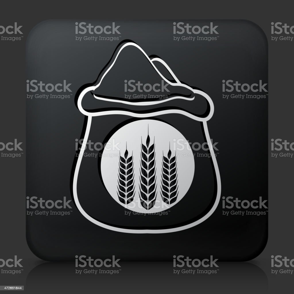 Black Square Button with Wheat Bag Icon vector art illustration