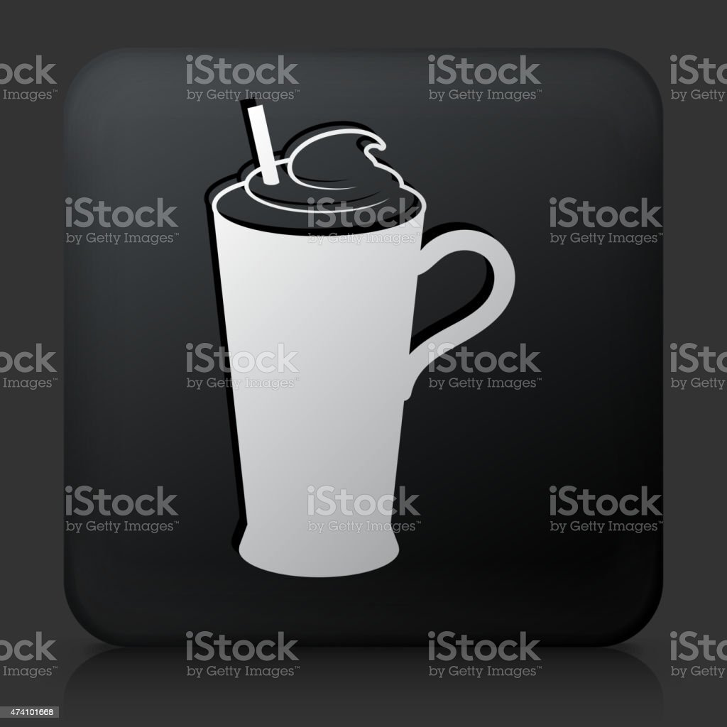 Black Square Button with Whipped Drink Icon vector art illustration