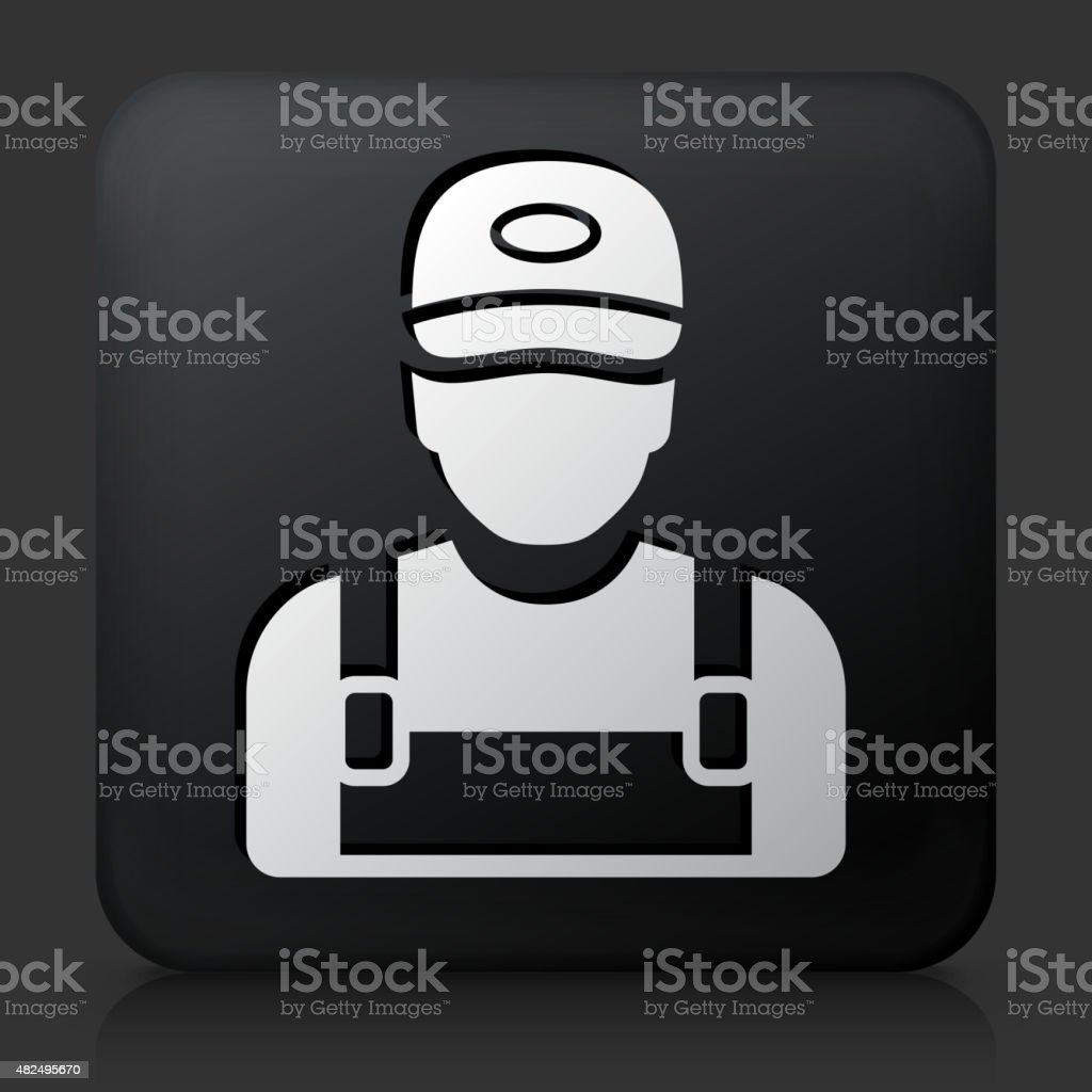 Black Square Button with Worker vector art illustration