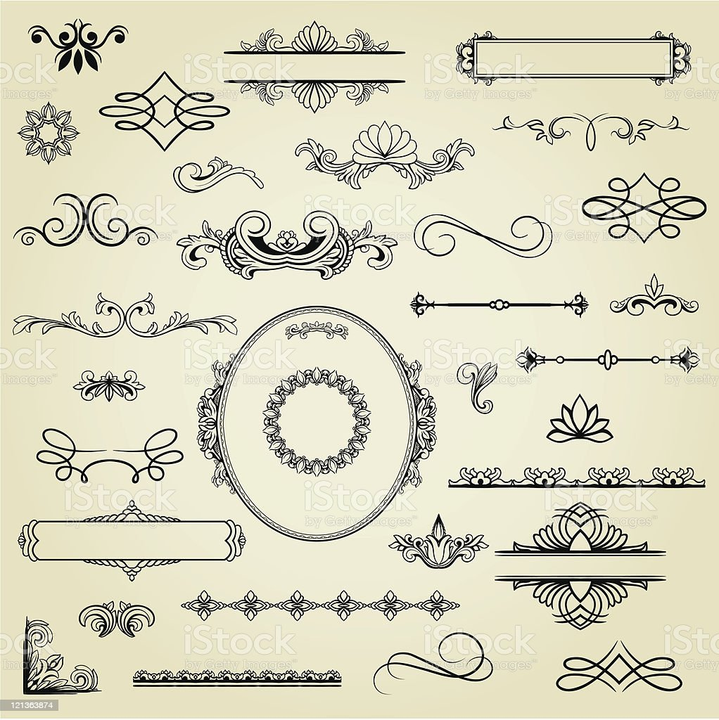 Black squiggles and floral designs on a tan background royalty-free stock vector art