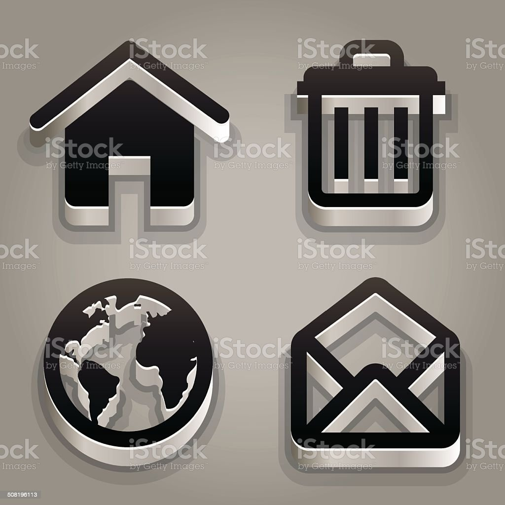 Black steel icon set royalty-free stock vector art