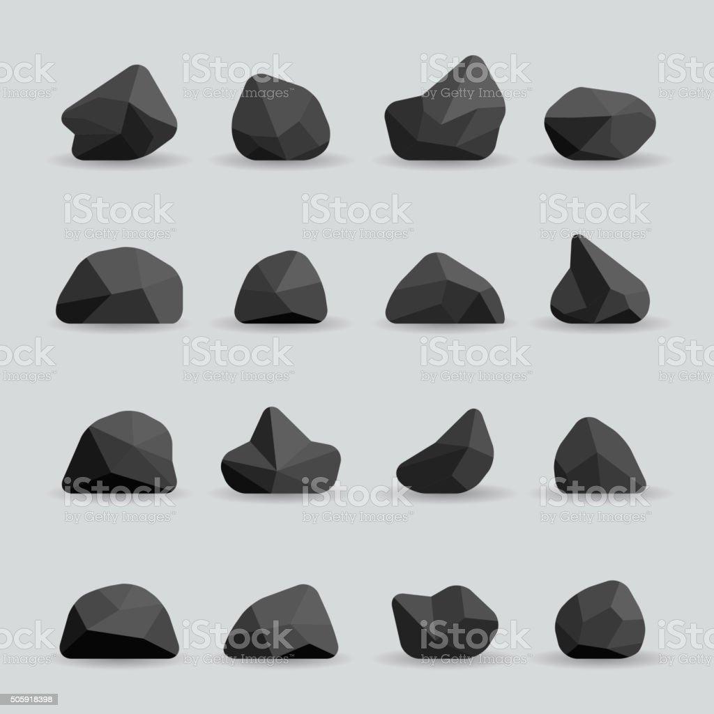 Black stones in flat style vector vector art illustration