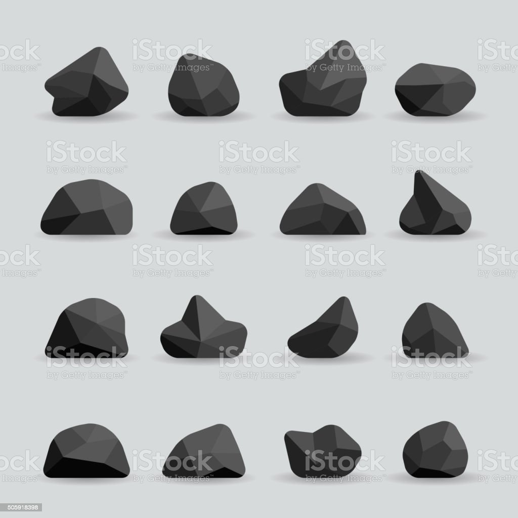Black stones in flat style vector vector art illustration