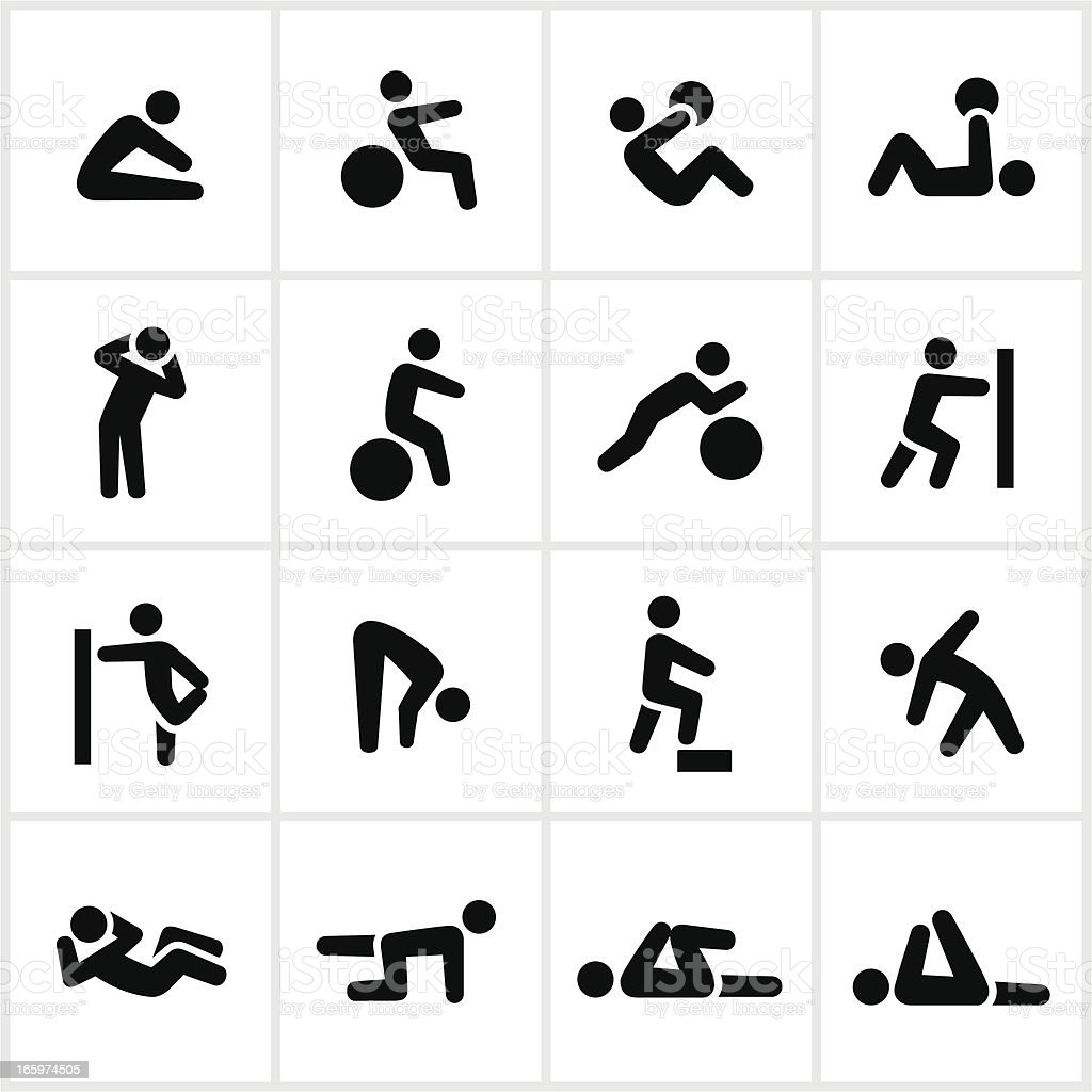 Black Stretching Icons vector art illustration