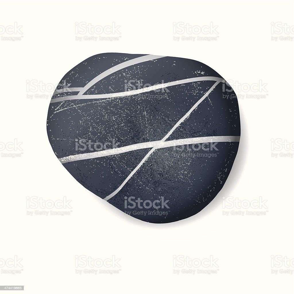 Black striped pebble on white background vector art illustration