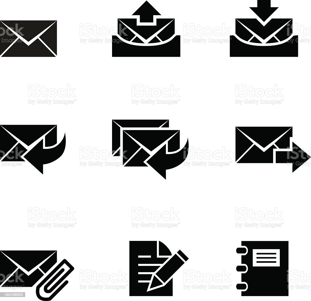 Black Style Email Icons vector art illustration