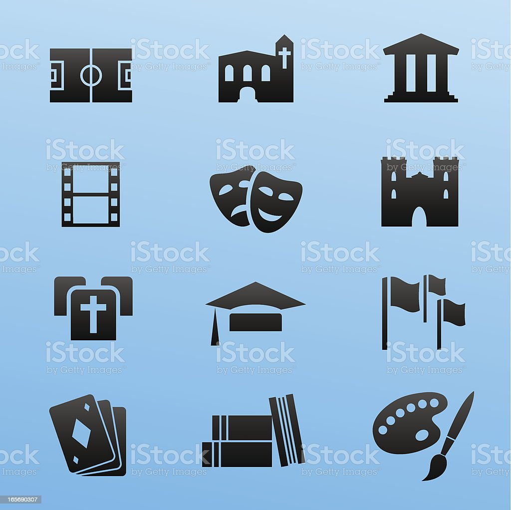 black style icon set culture and events vector art illustration