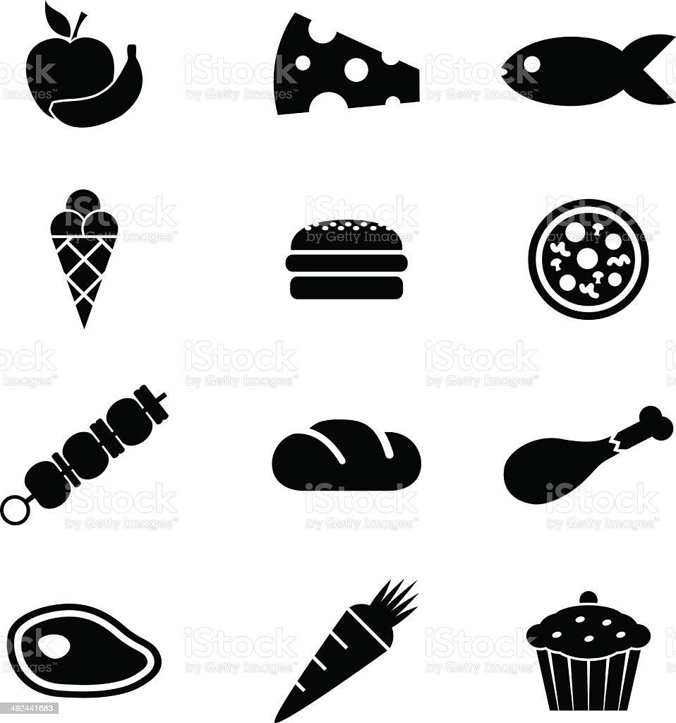Black style icon set food vector art illustration