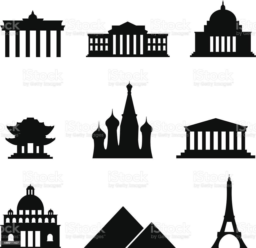Black style Icon Set Landmarks vector art illustration