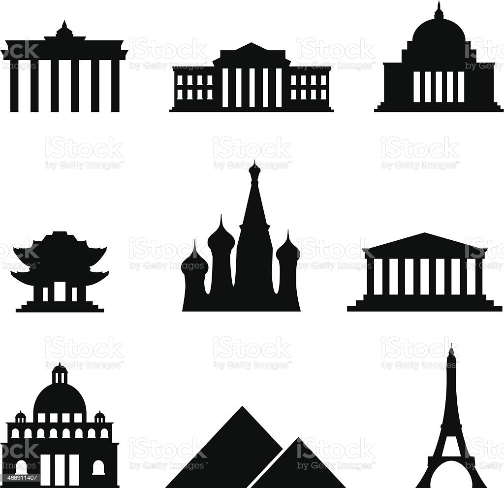 Black style Icon Set Landmarks vector art illustration
