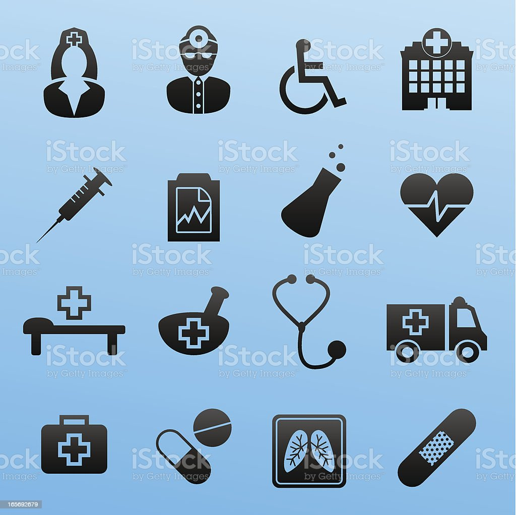 Black Style Icon Set Medical royalty-free stock vector art
