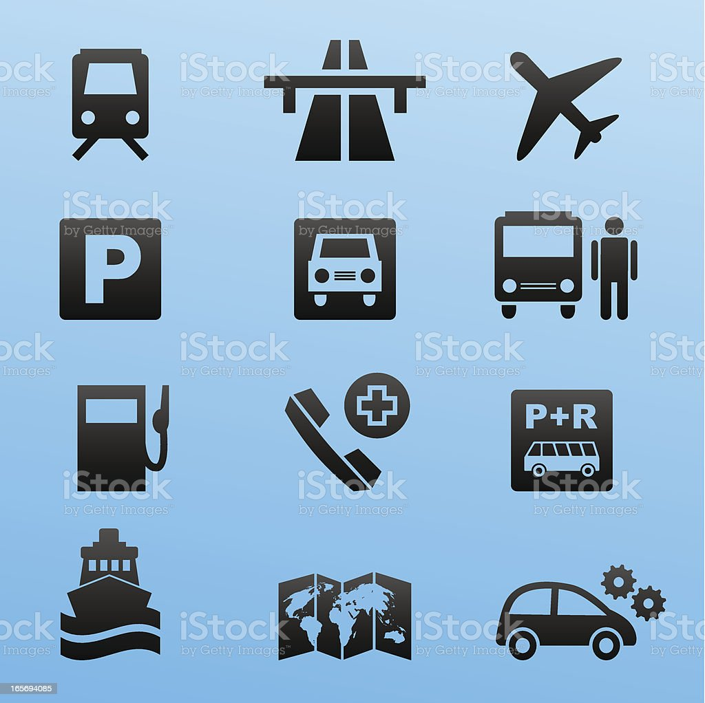 black style icon set traffic and travel royalty-free stock vector art