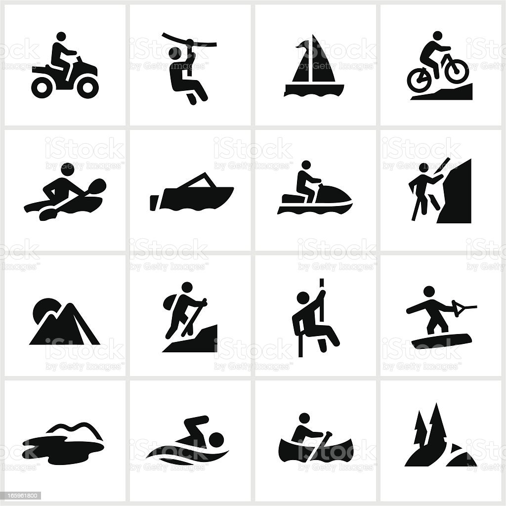 Black Summer Adventure Icons vector art illustration