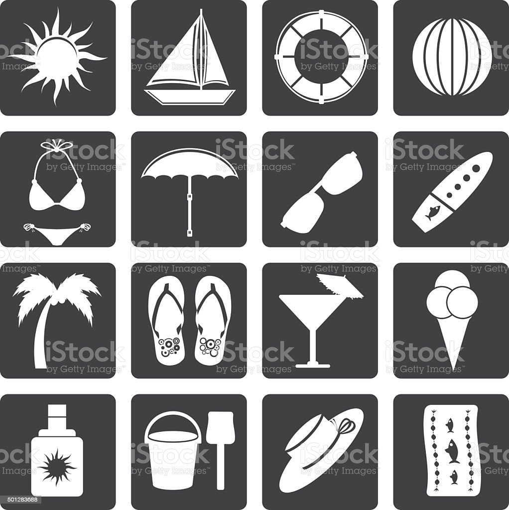 Black Summer and Holiday Icons vector art illustration