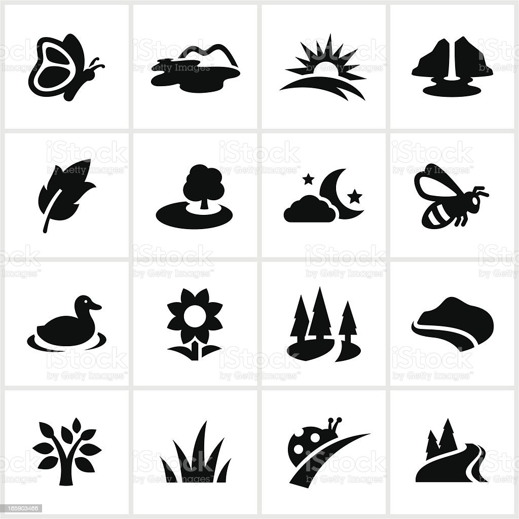 Black Summertime Icons vector art illustration