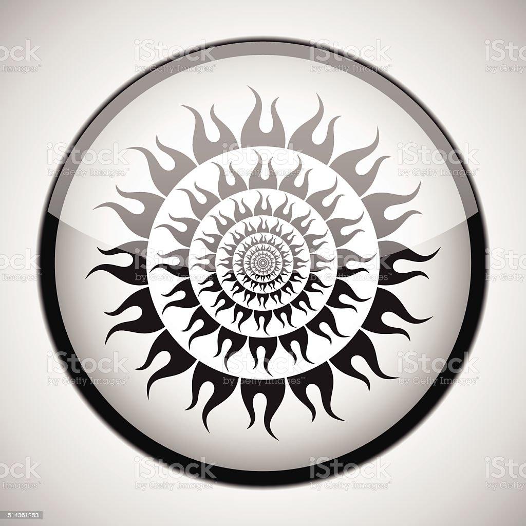 Noir soleil en cercle noir cadre.  Icône de Concept stock vecteur libres de droits libre de droits