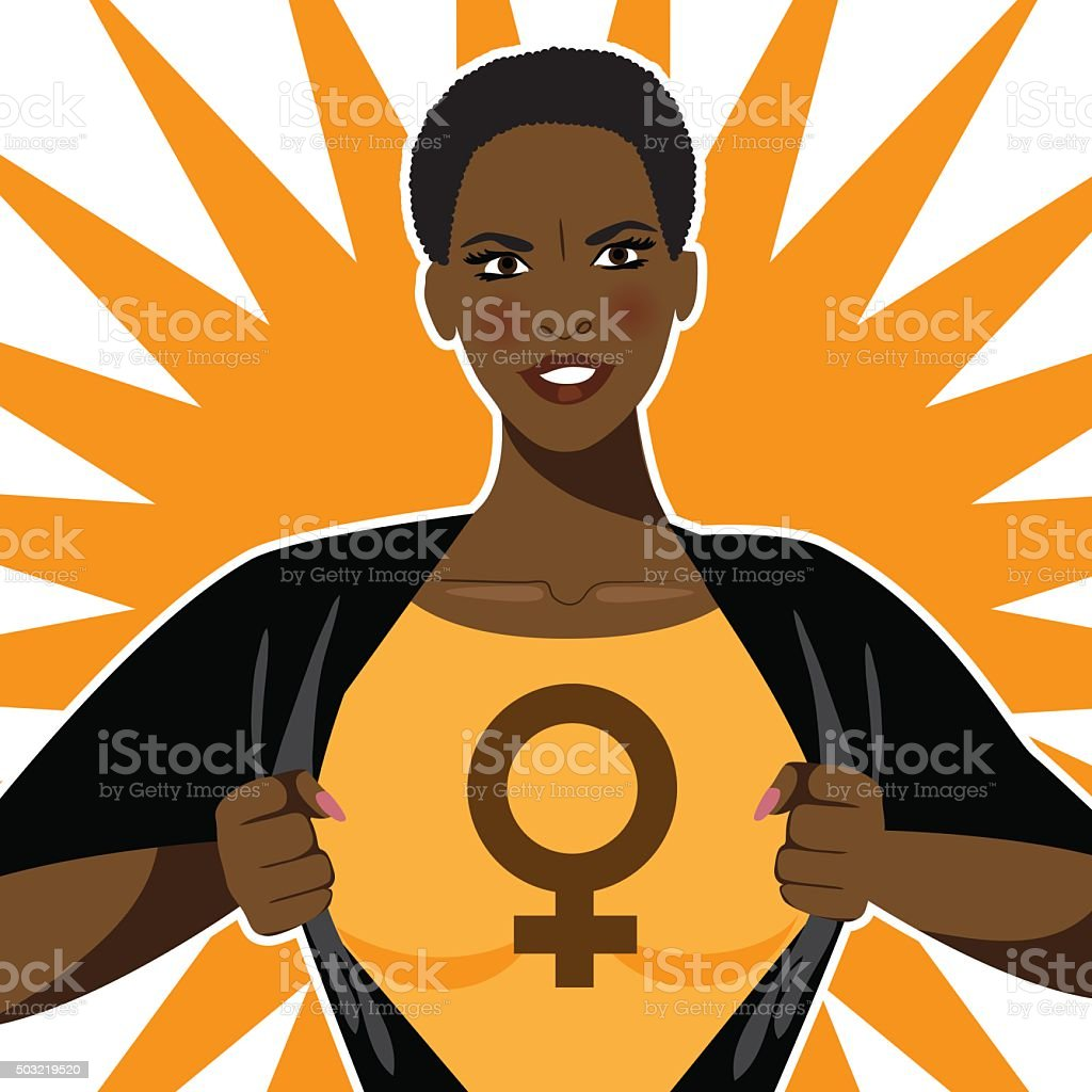 Black super hero woman tears open her shirt vector art illustration