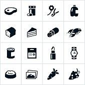 Black Supermarket Departments Icons
