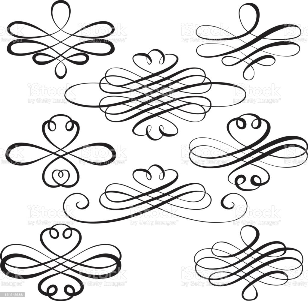 Black swirl sketches on white background royalty-free stock vector art