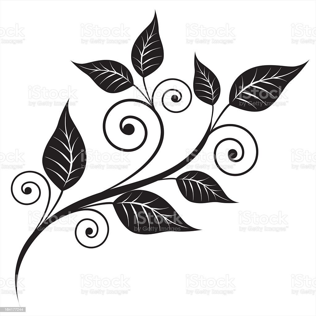 Black swirls and printed leaves have an element for design royalty-free stock vector art