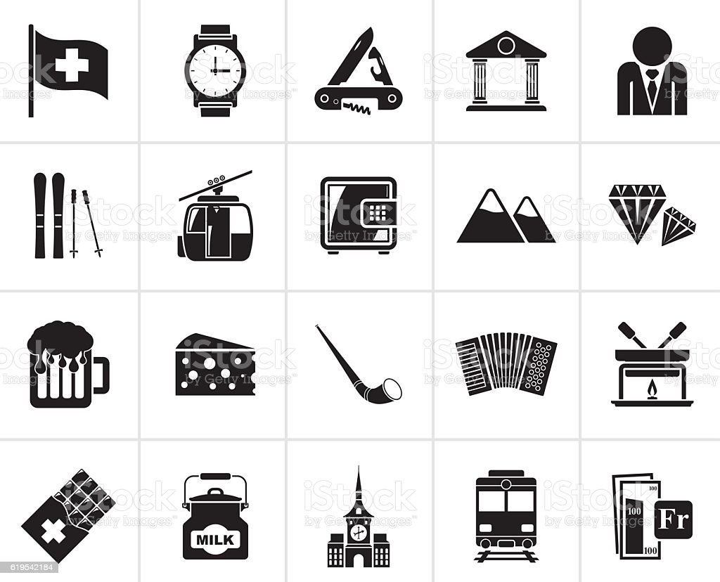 Black Switzerland industry and culture icons vector art illustration