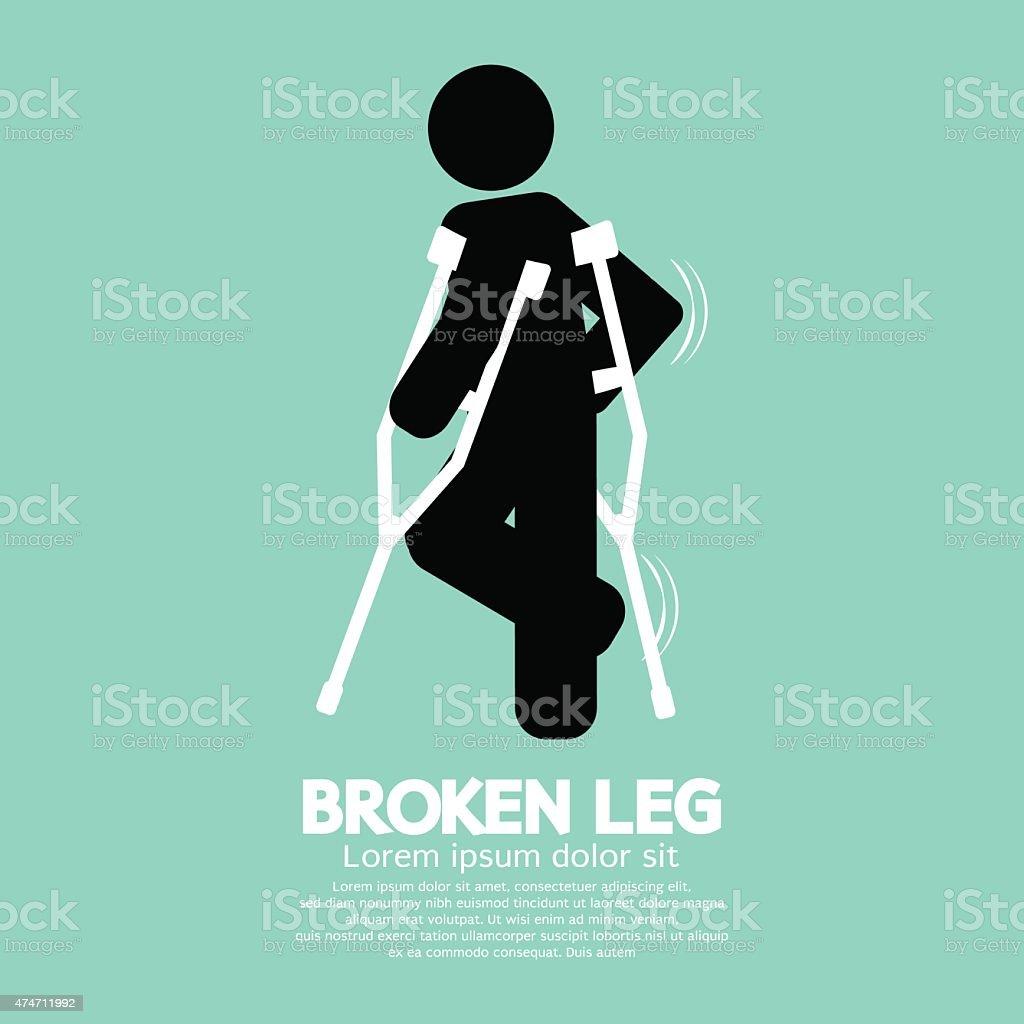 Black Symbol Broken Leg vector art illustration