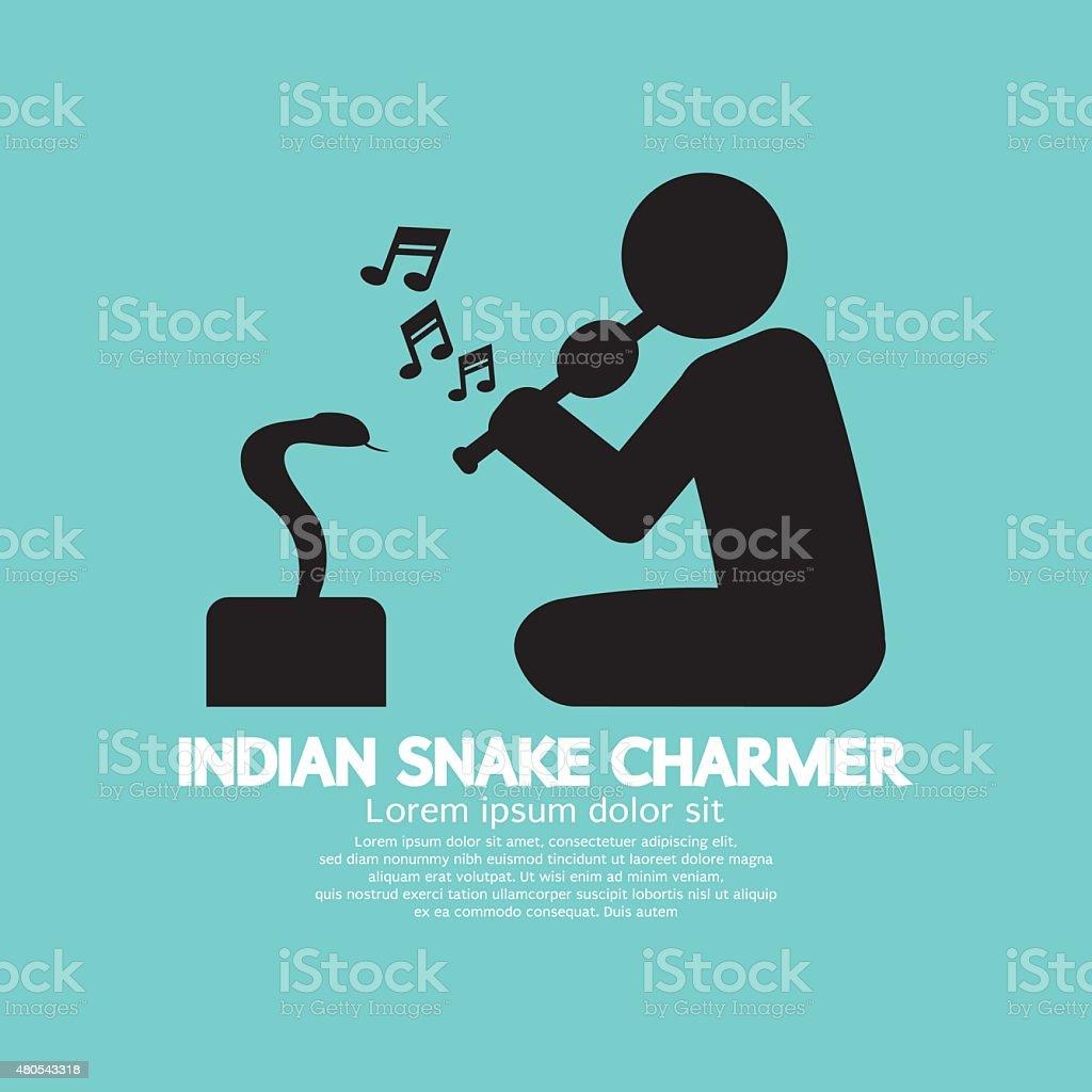 Black Symbol Indian Snake Charmer vector art illustration