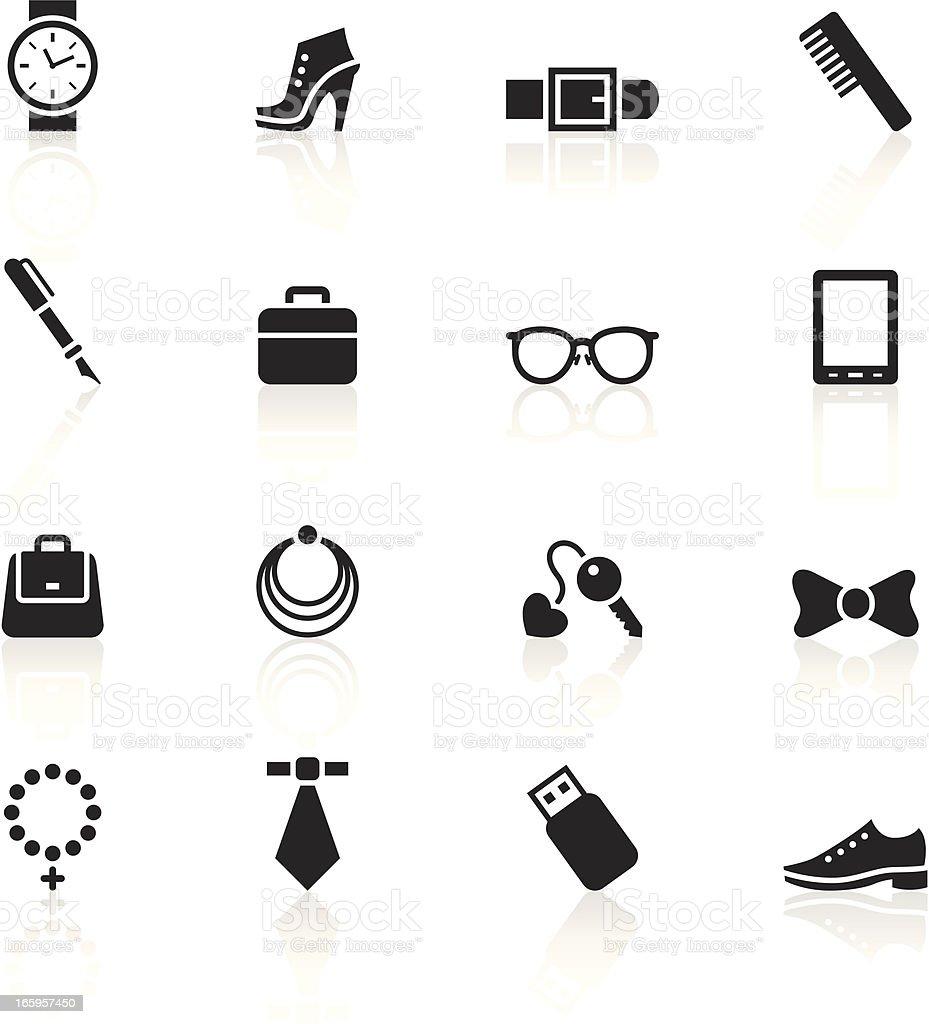 Black Symbols - Accessories vector art illustration
