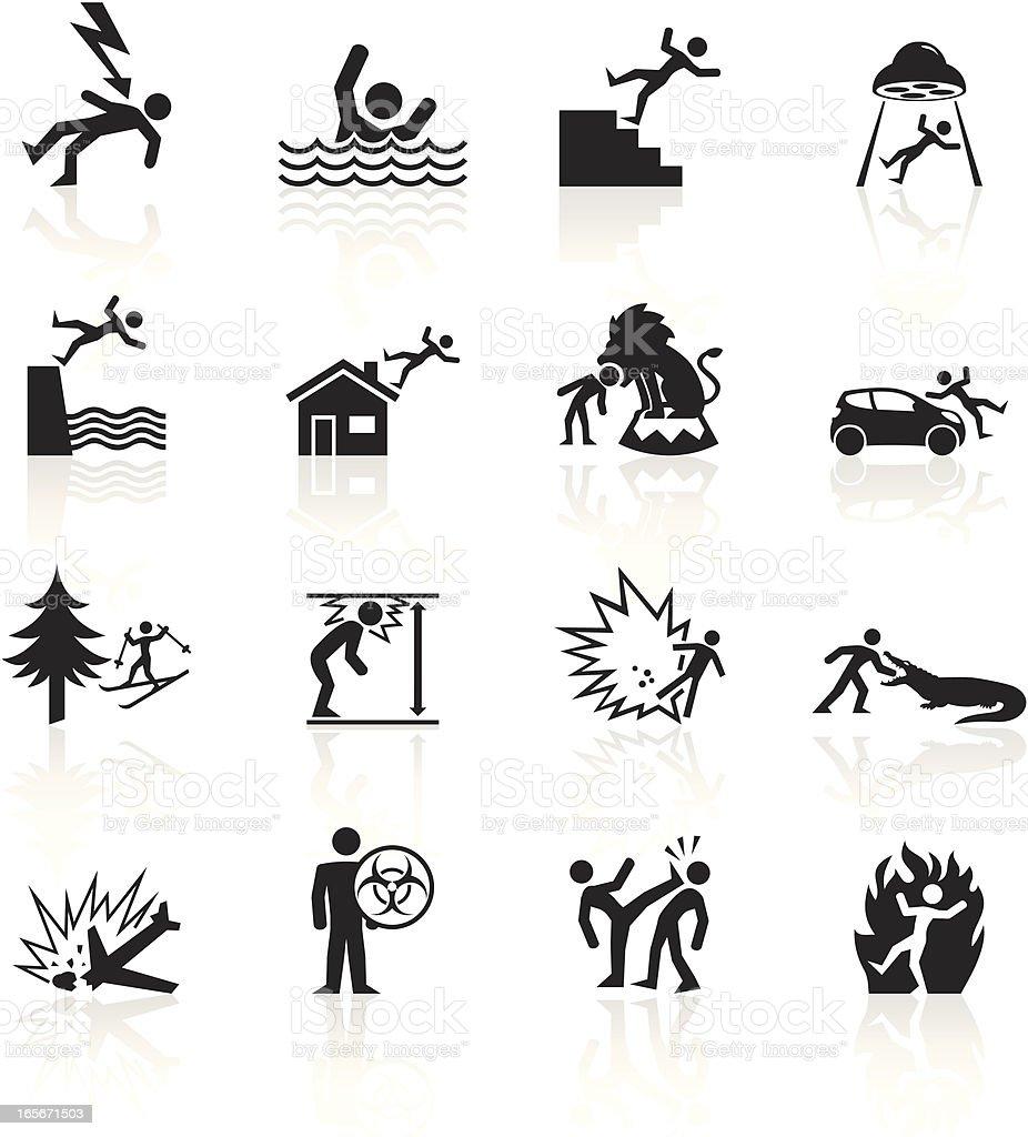 Black Symbols - Accidents vector art illustration