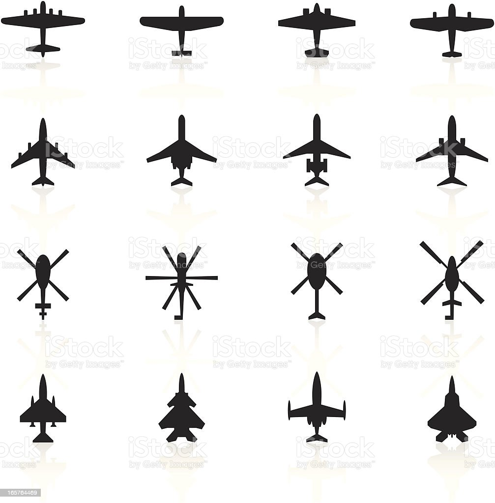 Black Symbols - Airplanes & Helicopters vector art illustration