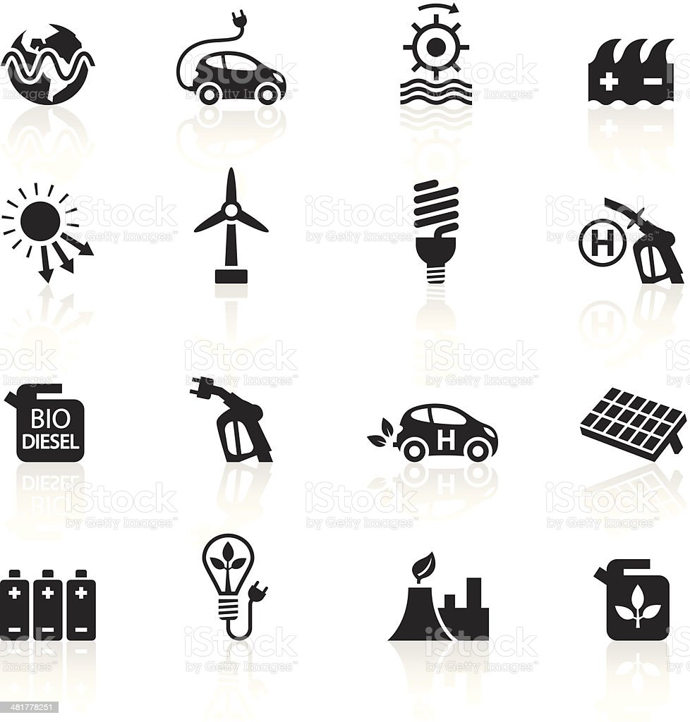 Black Symbols - Alternative Energy vector art illustration